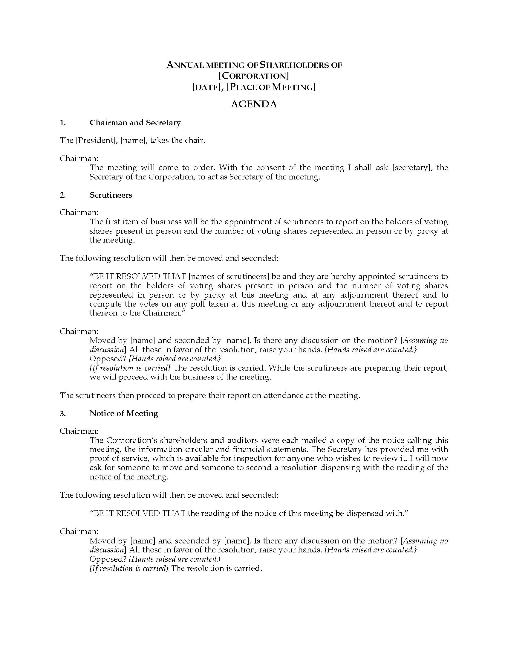 canada agenda for annual shareholders meeting