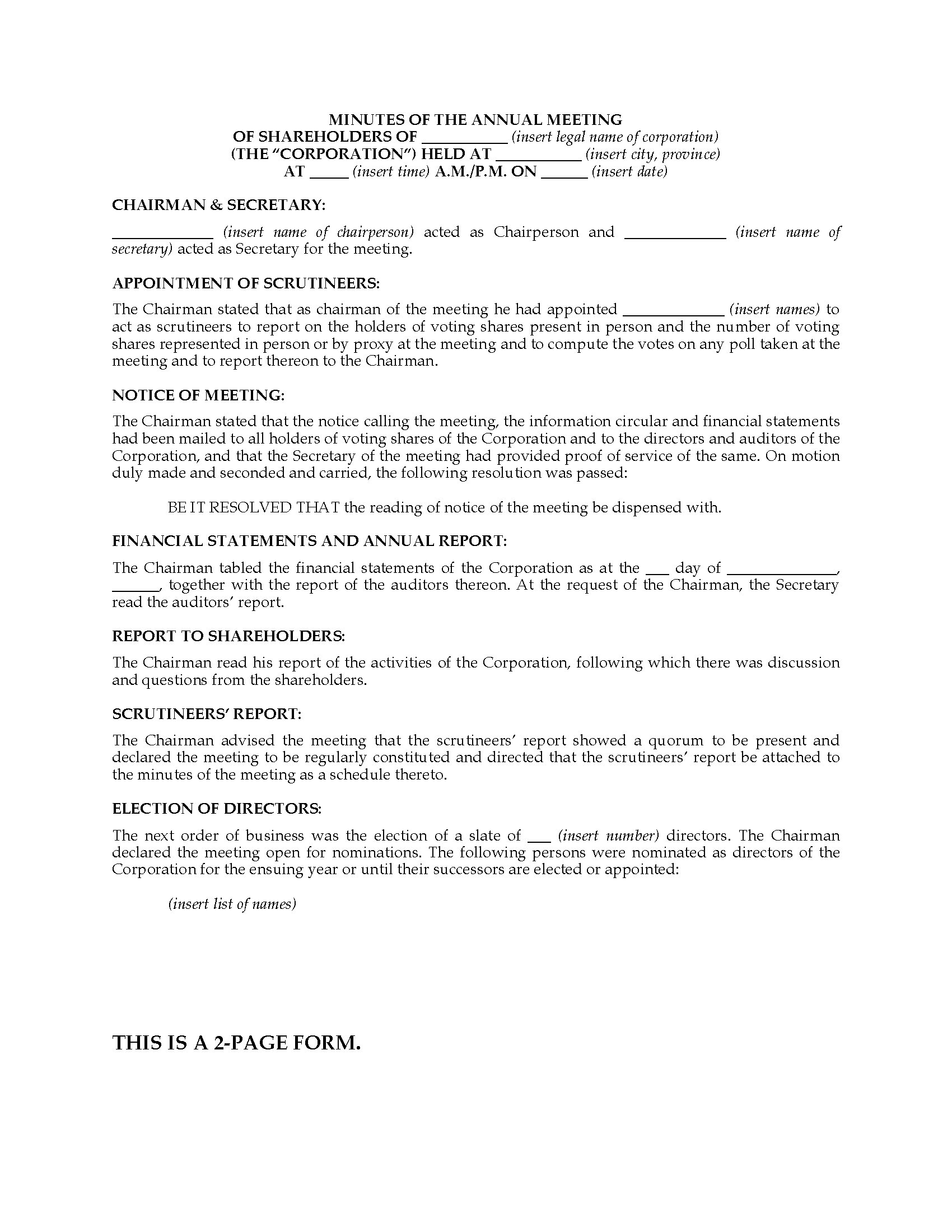Canada Minutes of Annual Shareholders Meeting | Legal Forms and ...