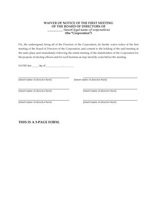 Picture of Waiver of Notice Forms for Directors Meetings (USA)