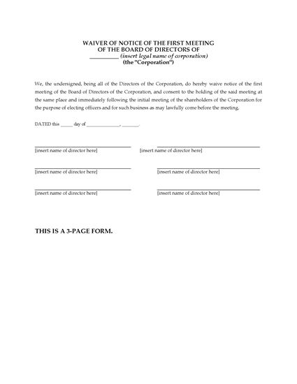 Picture of Waiver of Notice Forms for Directors Meetings | USA