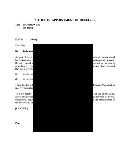 Picture of Notice of Appointment of Receiver