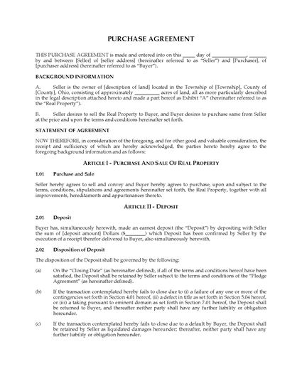 Picture of Ohio Land Purchase Agreement