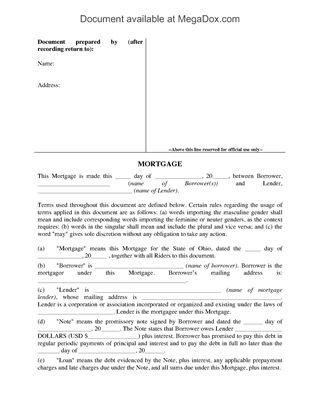 Ohio Mortgage Forms  Legal Forms And Business Templates  MegadoxCom