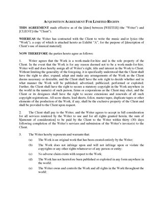 Picture of Acquisition Agreement for Limited Rights in Music