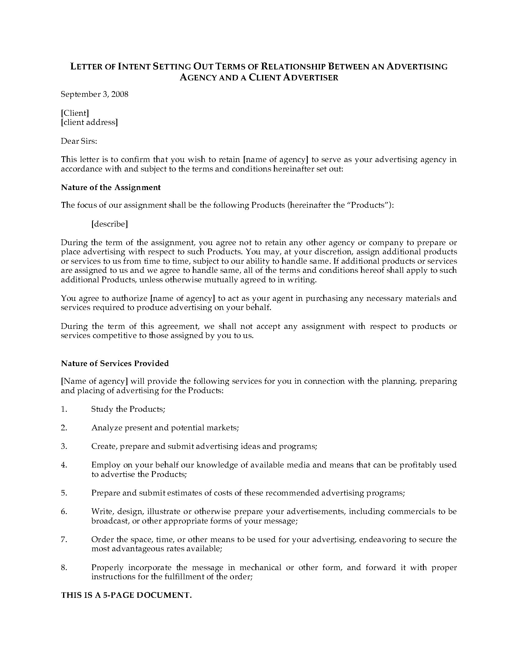 Letter Of Intent To Hire Advertising Agency Legal Forms