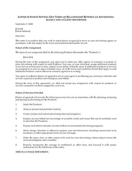 Picture of Letter of Intent to Hire Advertising Agency