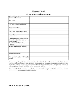 Picture of Employment Application Form