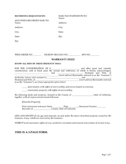 Picture of California Warranty Deed for Joint Ownership