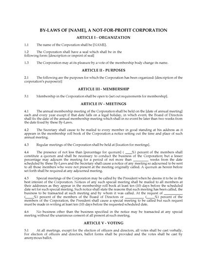 Picture of Bylaws of Not-For-Profit Corporation | USA