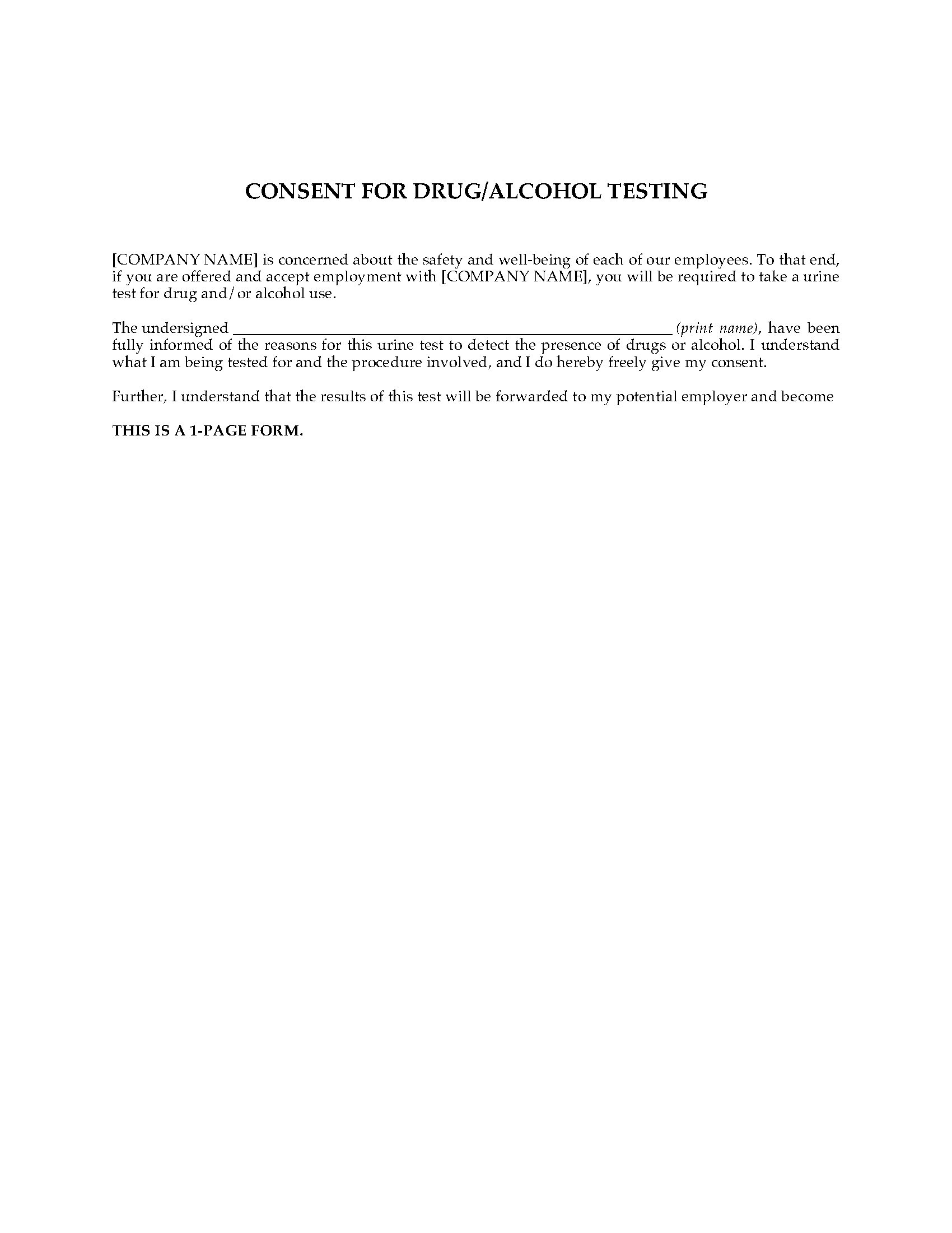Employee Consent To Drug Alcohol Testing Legal Forms And