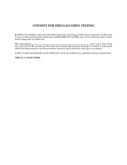 Picture of Employee Consent to Drug and Alcohol Testing