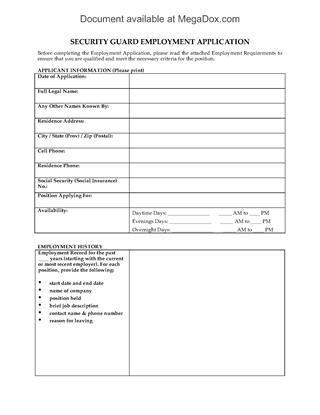Picture of Security Guard Employment Application Form