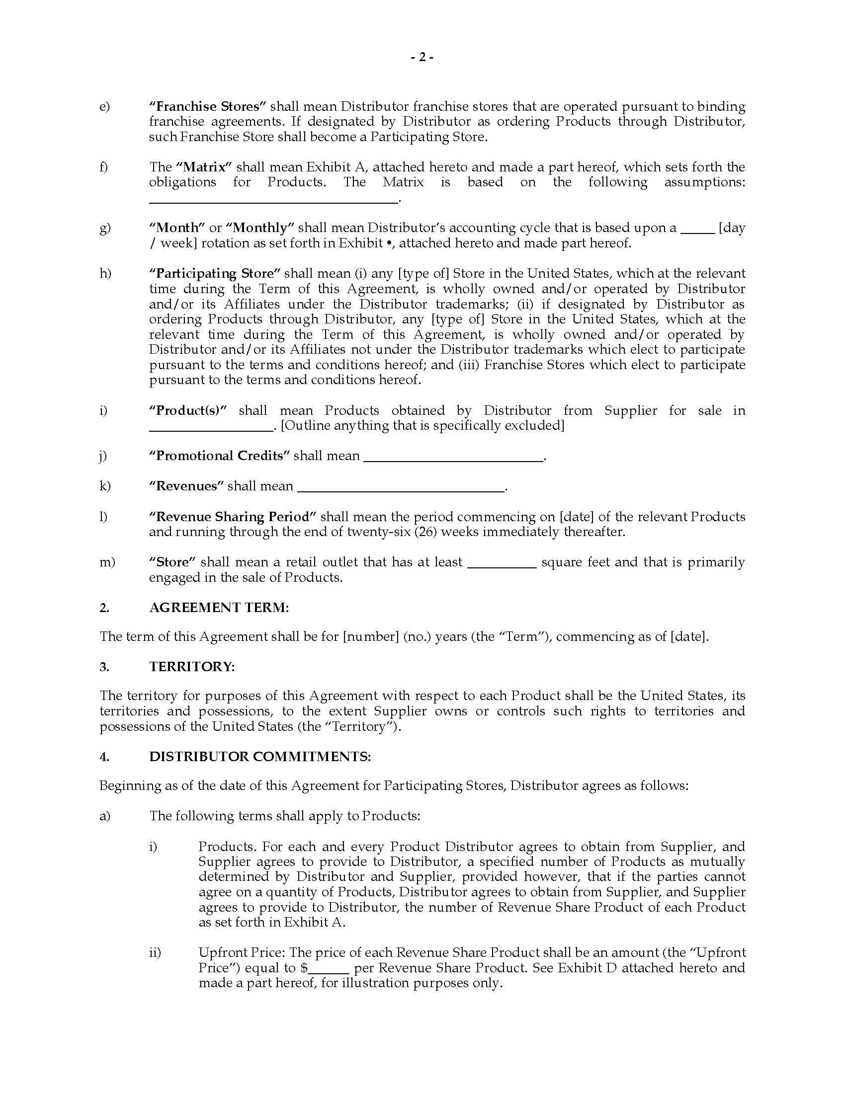 Usa revenue sharing agreement with franchisor legal for Revenue sharing contract template
