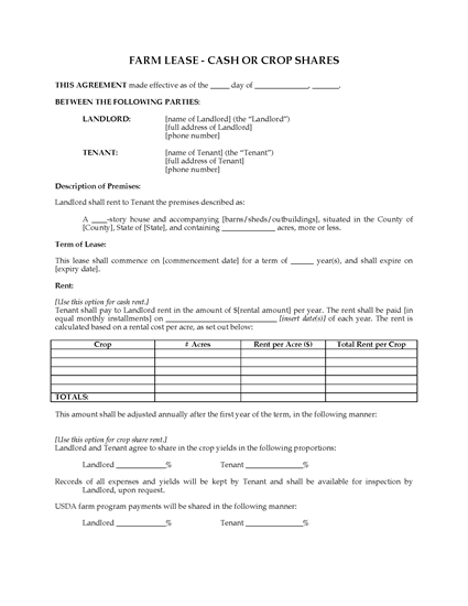 Picture of Farm Lease for Cash or Crop Shares   USA