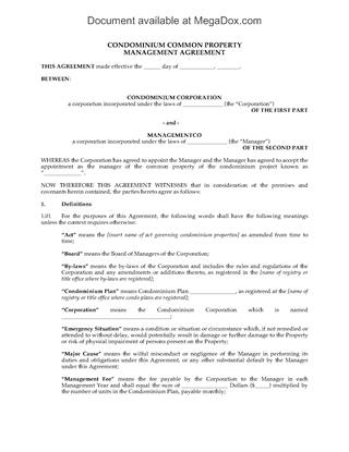 Picture of Condominium Common Property Management Agreement
