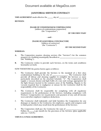Picture of Cleaning Contract for Condominium Building