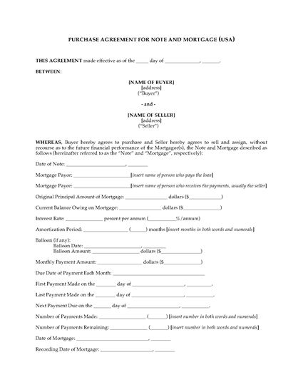 Picture of USA Purchase Agreement for Mortgage
