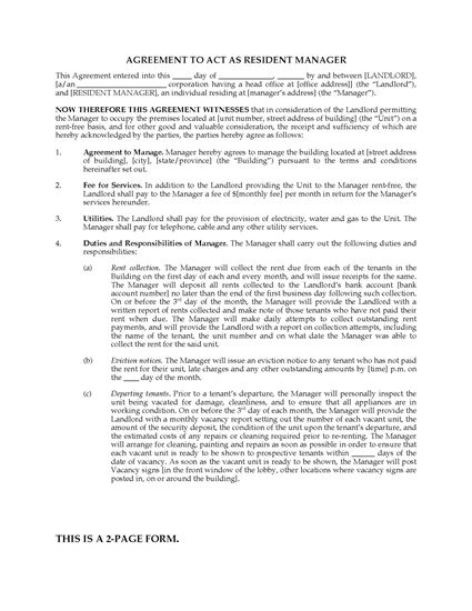 Picture of Resident Manager Agreement