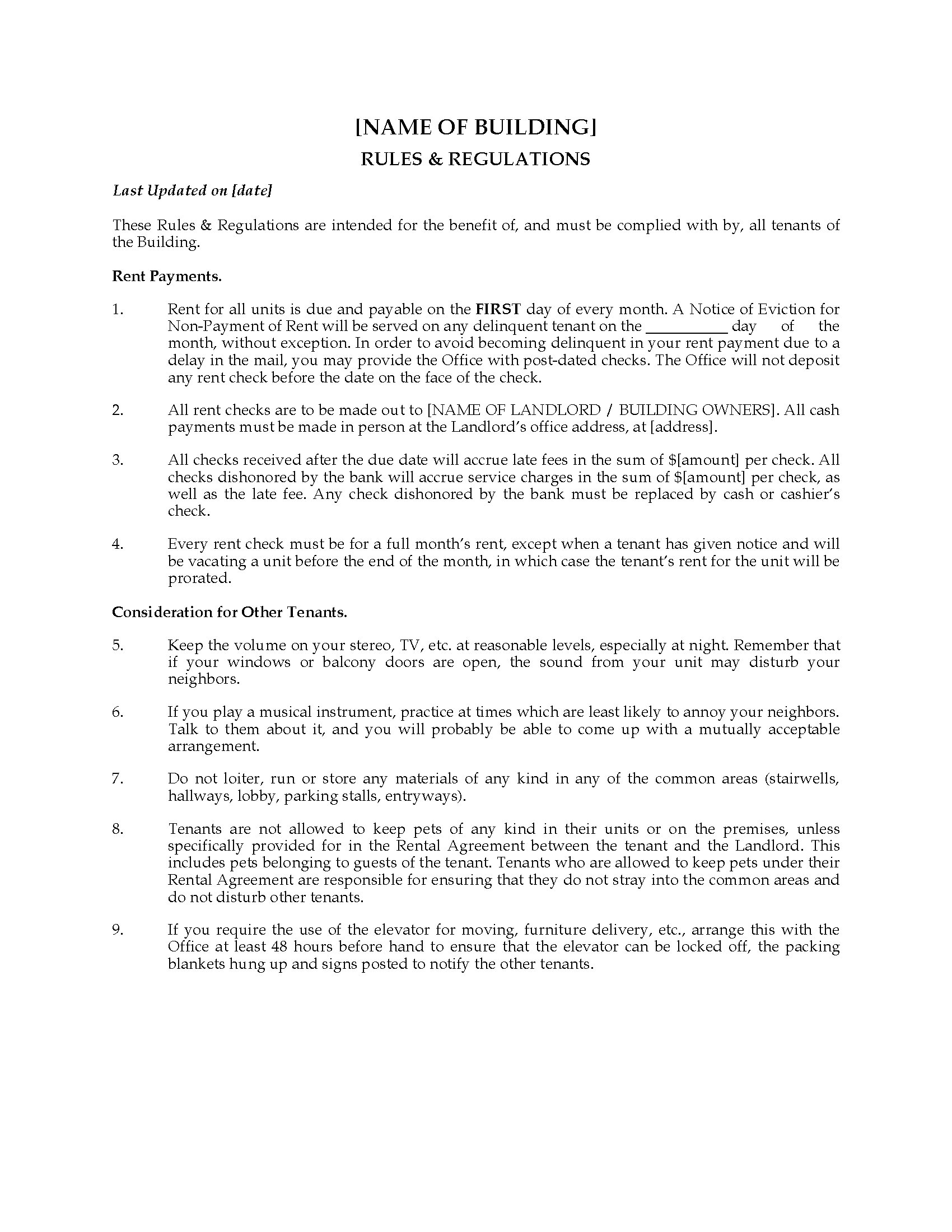 Office Rules And Regulations Template Choice Image