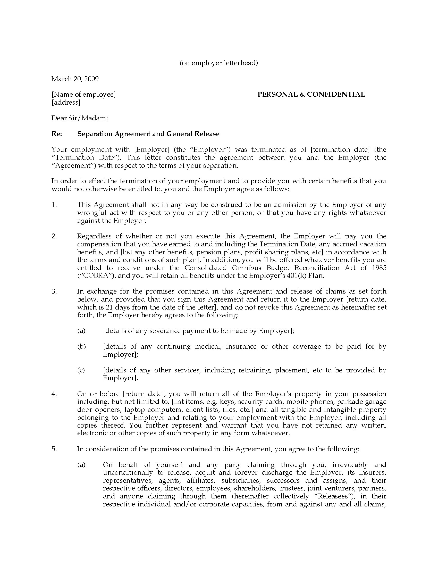 Picture Of California Employee Separation Agreement And General Release