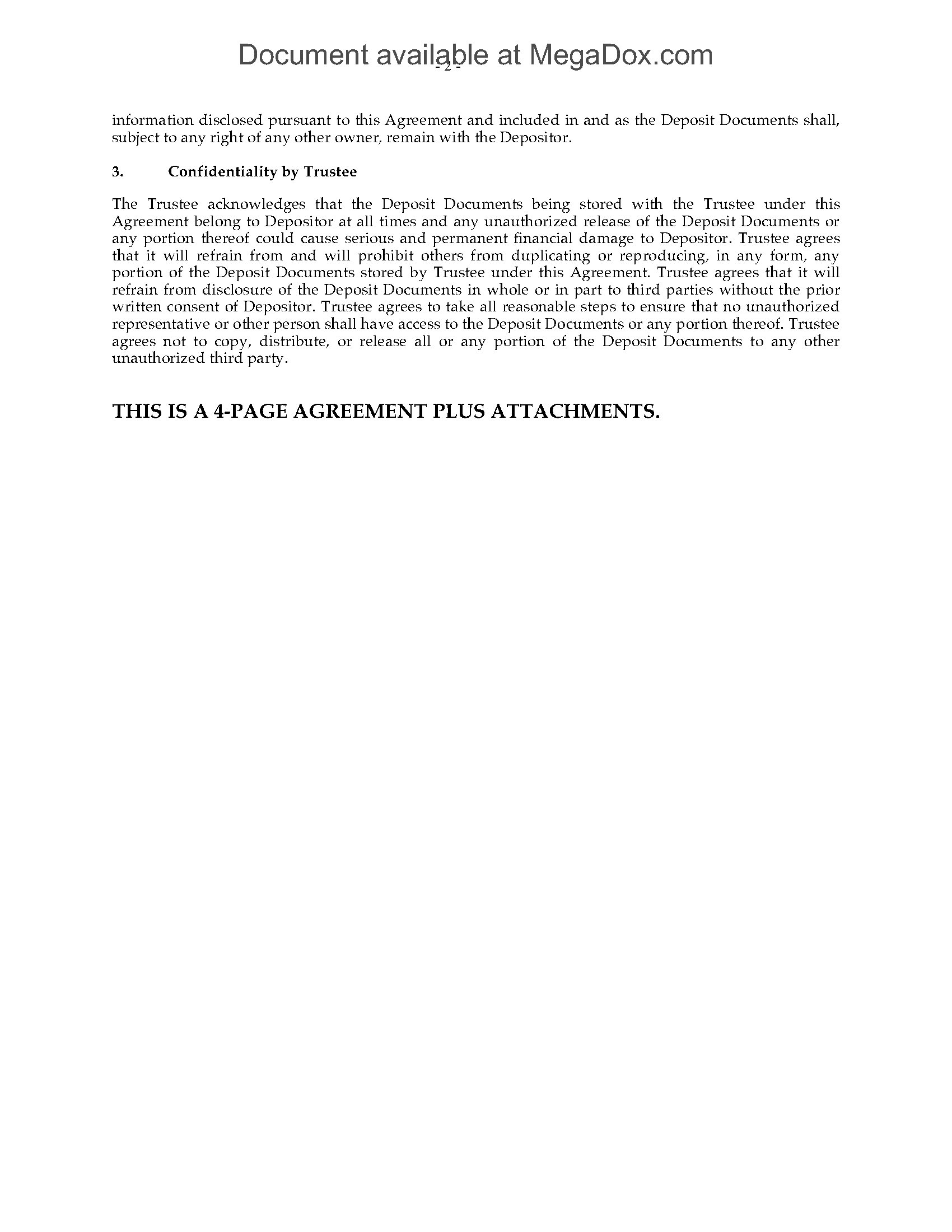 Usa Trade Secret Deposit Agreement Legal Forms And Business