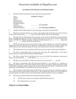 Picture of Debit Pre-Authorization Form (Canada)