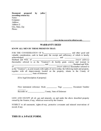 Picture of Delaware Warranty Deed for Joint Ownership
