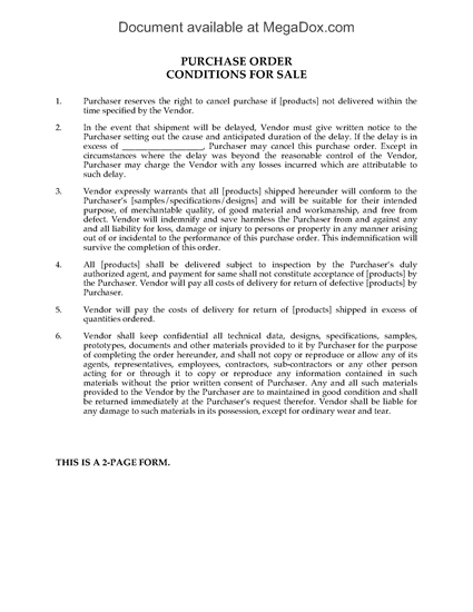Picture of Purchase Order Conditions for Sale