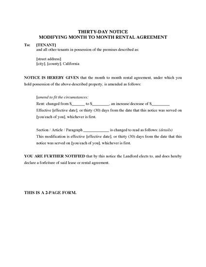 Picture of California 30-Day Notice Modifying Monthly Rental Agreement