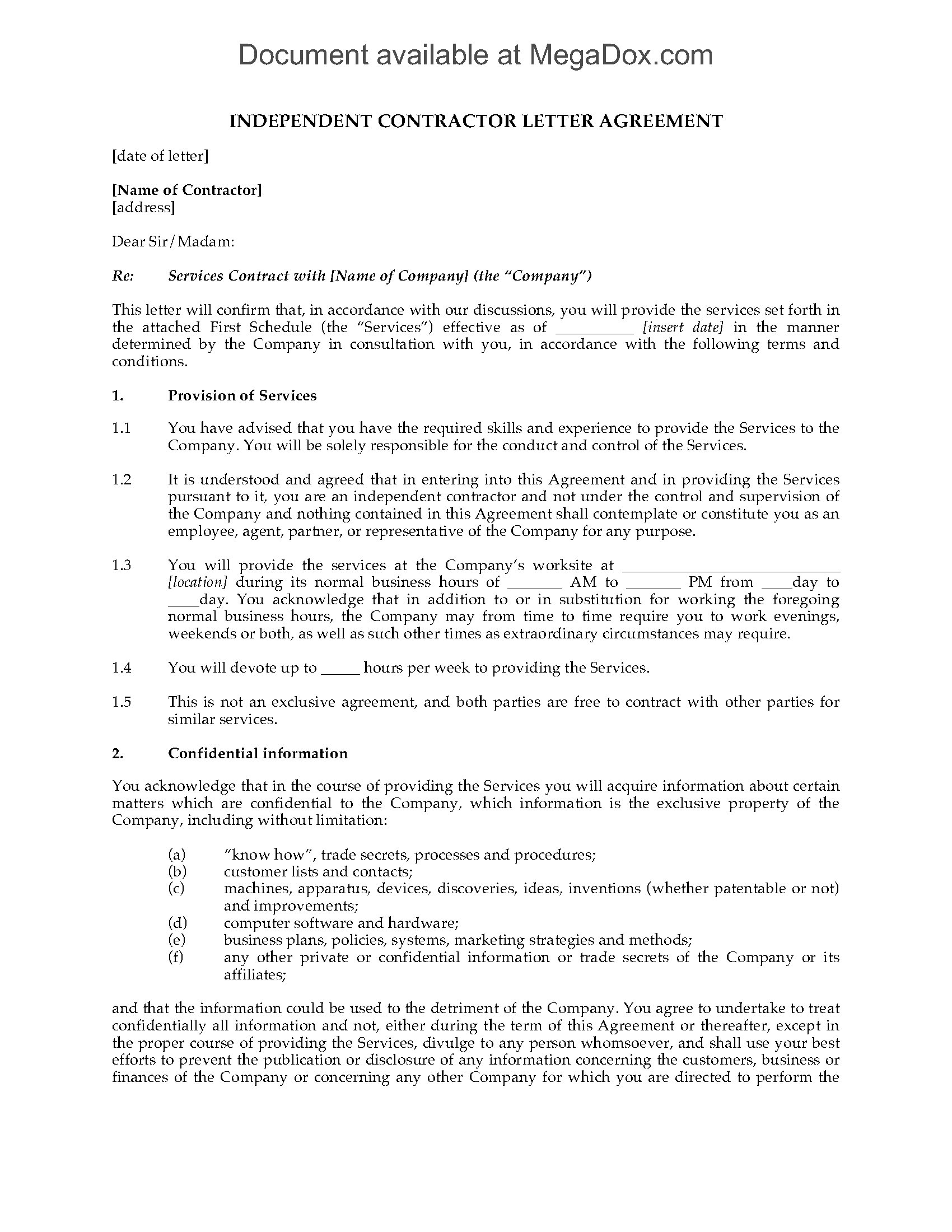 UK Independent Contractor Agreement Form