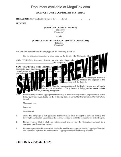 Picture of Licence to Use Copyright Material   UK