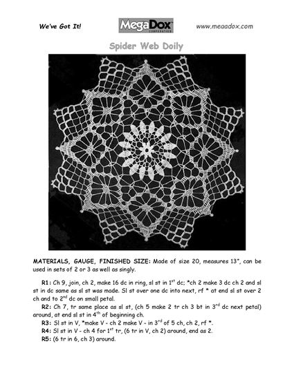 Picture of Spider Web Doily Crochet Pattern