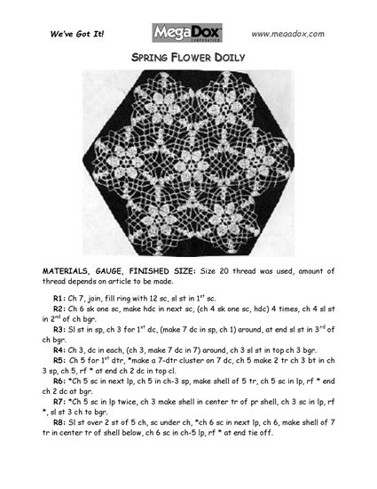 Picture of Spring Flower Doily Crochet Pattern