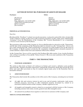 Picture of Letter of Intent to Purchase Assets of Business