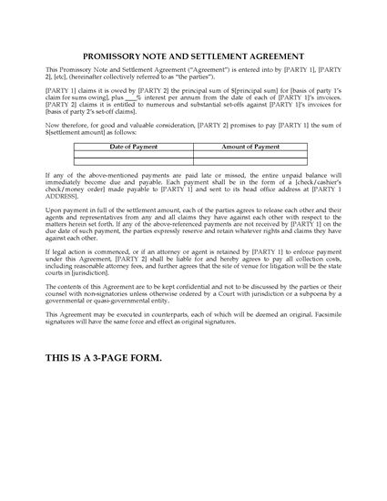Picture of USA Promissory Note, Settlement Agreement and Guaranty