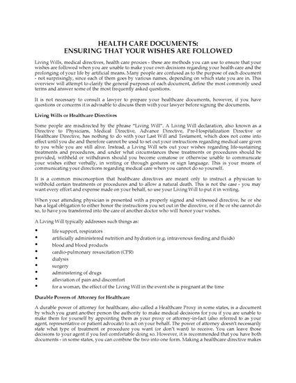 Picture of Michigan Advance Health Care Directive Forms