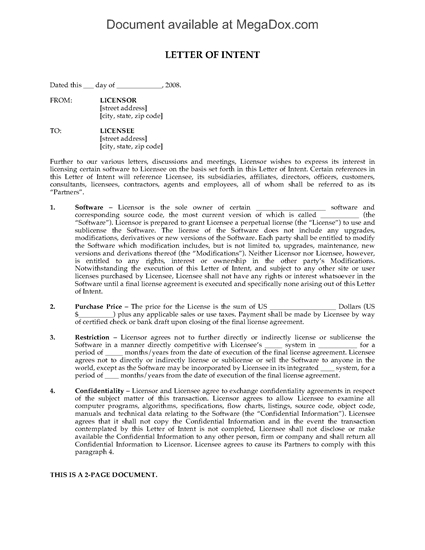 Picture of Letter of Intent to Grant Perpetual Software License