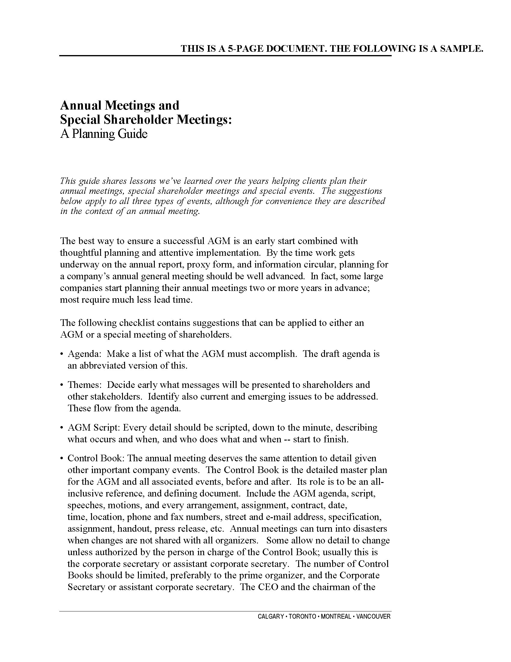 Annual Meetings and Special Shareholder Meetings: A Planning Guide ...