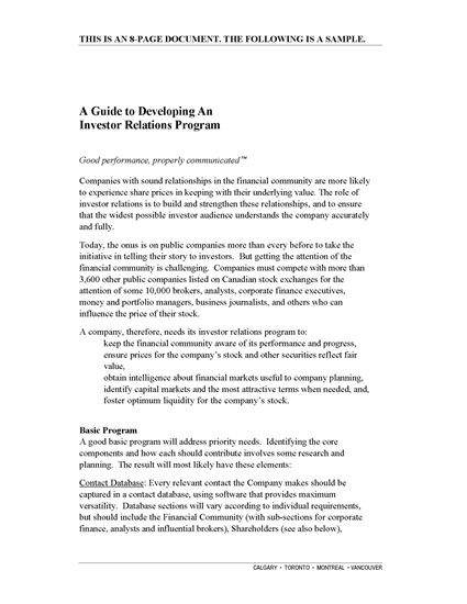 Picture of Guide to Developing an Investor Relations Program