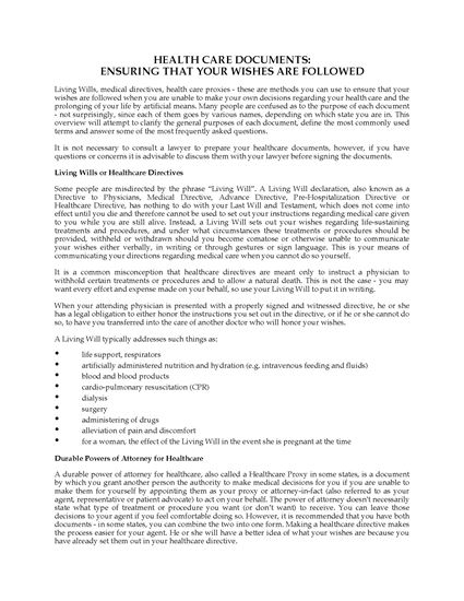 Picture of North Carolina Advance Health Care Directive Forms