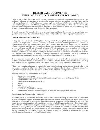 Picture of Washington Advance Health Care Directive Forms