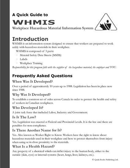 Canada whmis guide legal forms and business templates for Whmis labels template