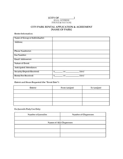 Picture of City Park Facility Rental Agreement | Canada