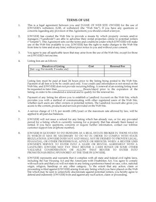 Picture of USA Listing Agreement for Rental Property Website
