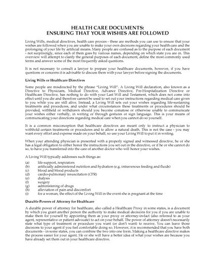 Picture of Massachusetts Advance Health Care Directive Forms
