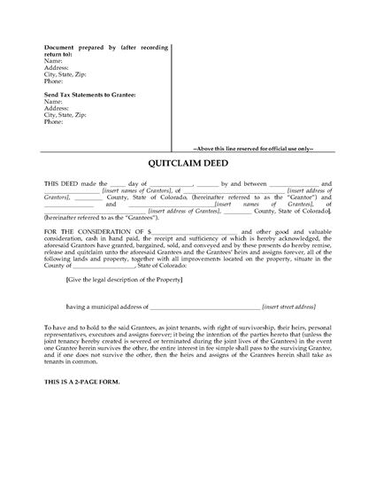 Picture of Colorado Quitclaim Deed for Joint Ownership