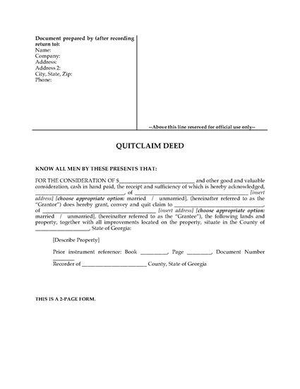 Picture of Georgia Quitclaim Deed