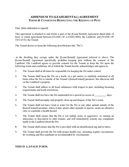 Picture of Pet Addendum to Lease or Rental Agreement