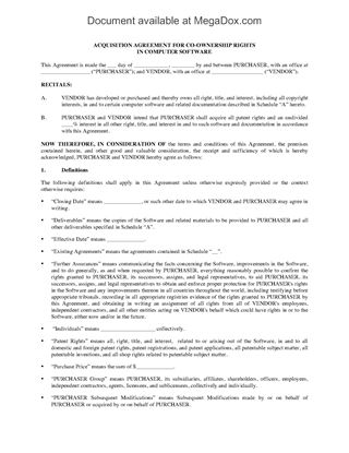 Picture of Acquisition Agreement for Co-Ownership Rights in Software