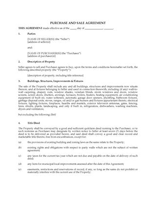 Picture of USA Real Estate Purchase and Sale Agreement